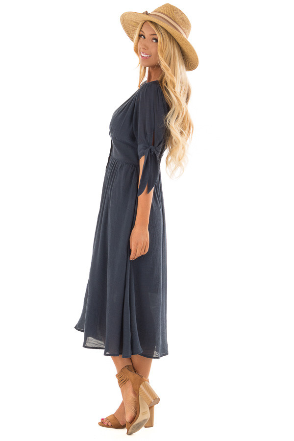 Deep Navy Button Down Dress with Tie Sleeve Detail side full body