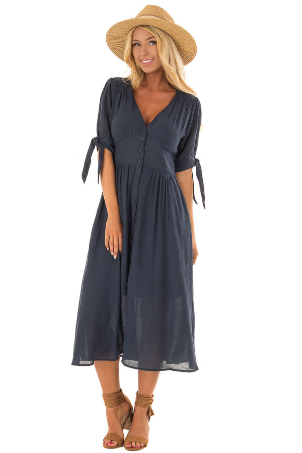 Deep Navy Button Down Dress with Tie Sleeve Detail front full body