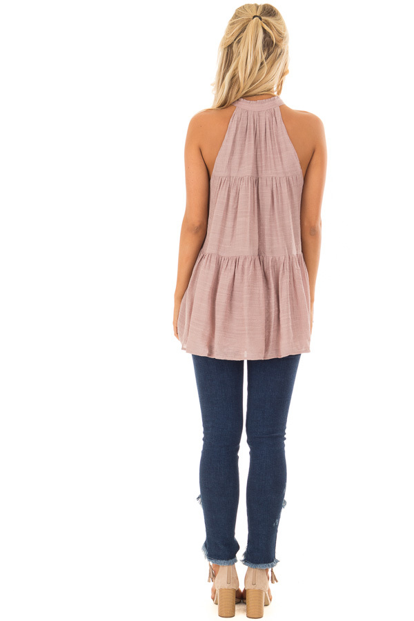 Dusty Mauve Tiered Tank Top with Tassel Tie Neckline back full body