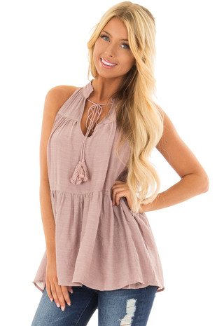 Dusty Mauve Tiered Tank Top with Tassel Tie Neckline front close up