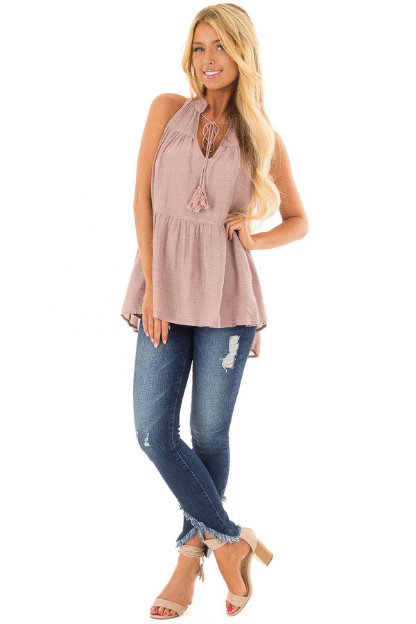 Dusty Mauve Tiered Tank Top with Tassel Tie Neckline front full body