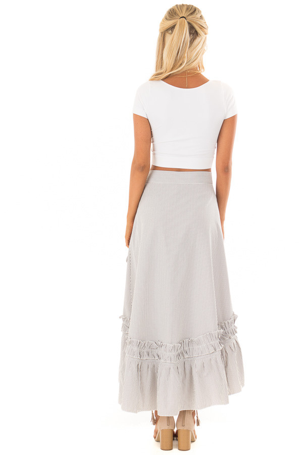 White and Grey Striped Wrap Skirt with Ruffle Detail back full body