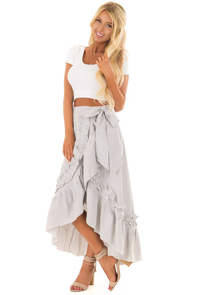 White and Grey Striped Wrap Skirt with Ruffle Detail front full body