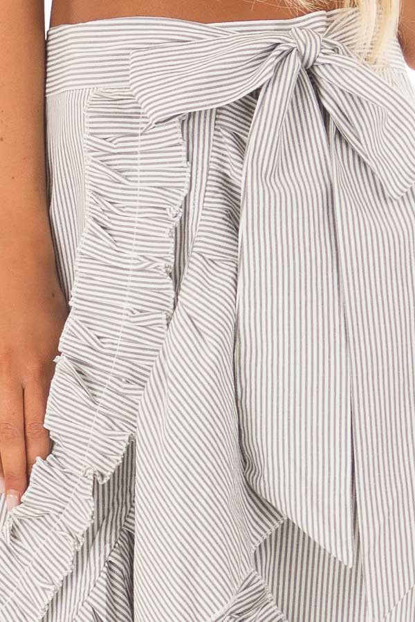 White and Grey Striped Wrap Skirt with Ruffle Detail detail