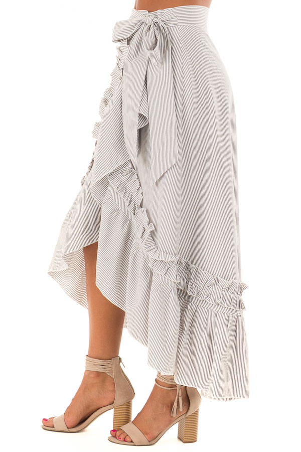White and Grey Striped Wrap Skirt with Ruffle Detail side view