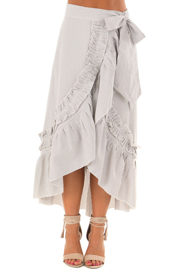 White and Grey Striped Wrap Skirt with Ruffle Detail front view
