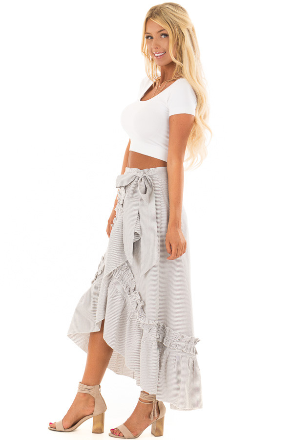 White and Grey Striped Wrap Skirt with Ruffle Detail side full body