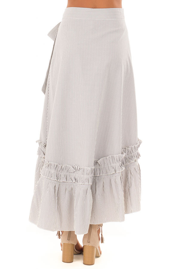 White and Grey Striped Wrap Skirt with Ruffle Detail back view