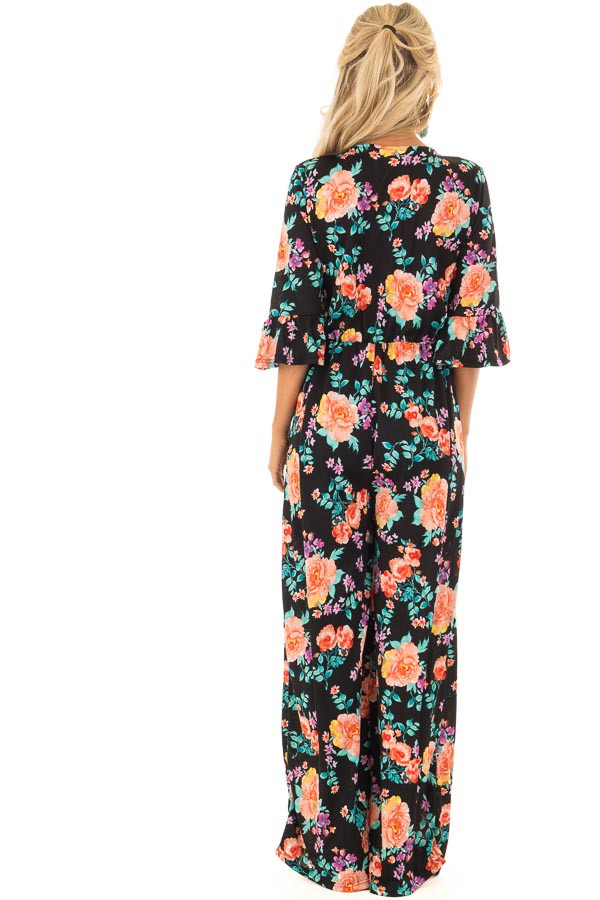 Black Floral Print V Neck Jumpsuit  with Ruffle Sleeves back full body