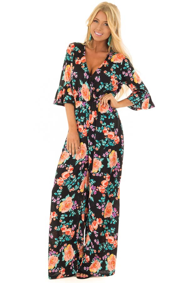 Black Floral Print V Neck Jumpsuit  with Ruffle Sleeves front full body