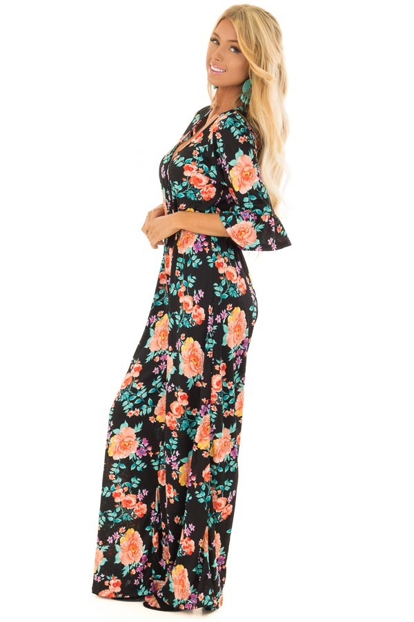 Black Floral Print V Neck Jumpsuit  with Ruffle Sleeves side full body