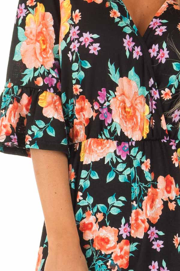 Black Floral Print V Neck Jumpsuit  with Ruffle Sleeves detail