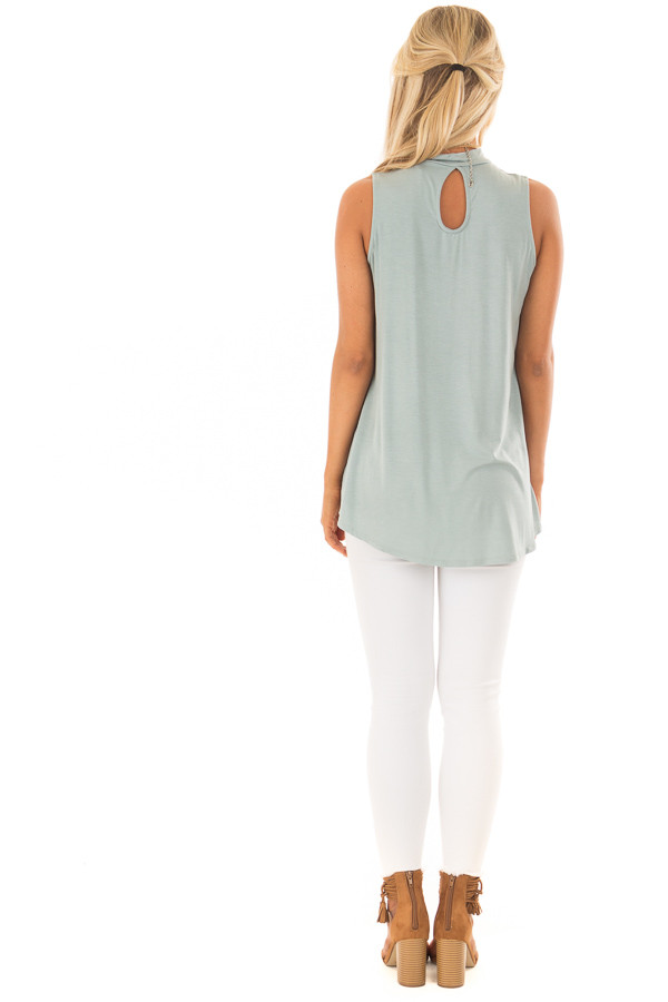 Sea Green Tank Top with Back Keyhole back full body