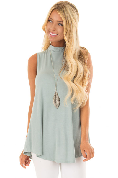 Sea Green Tank Top with Back Keyhole front close up