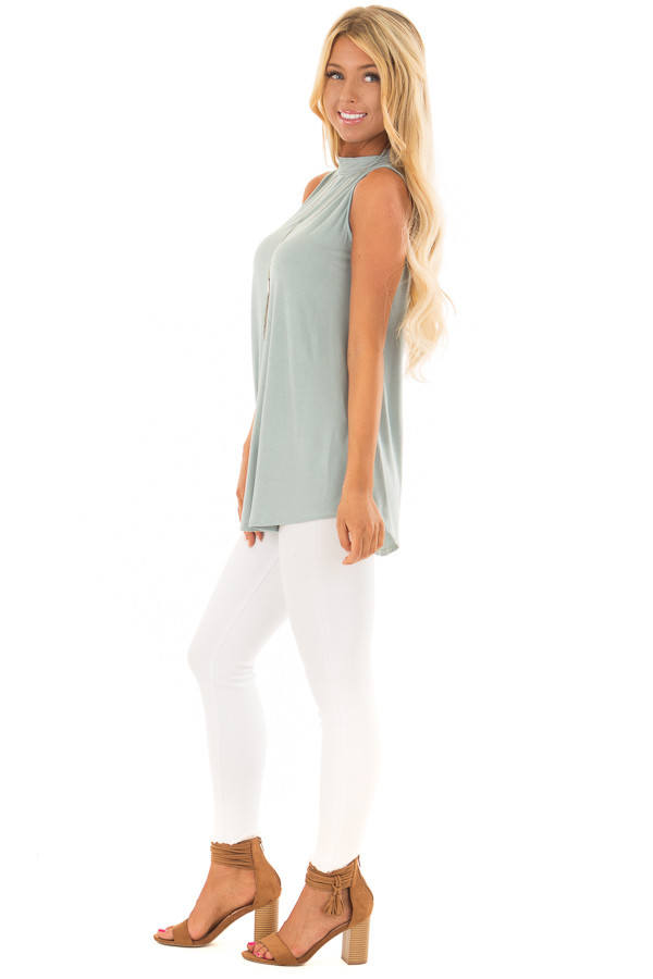 Sea Green Tank Top with Back Keyhole side full body