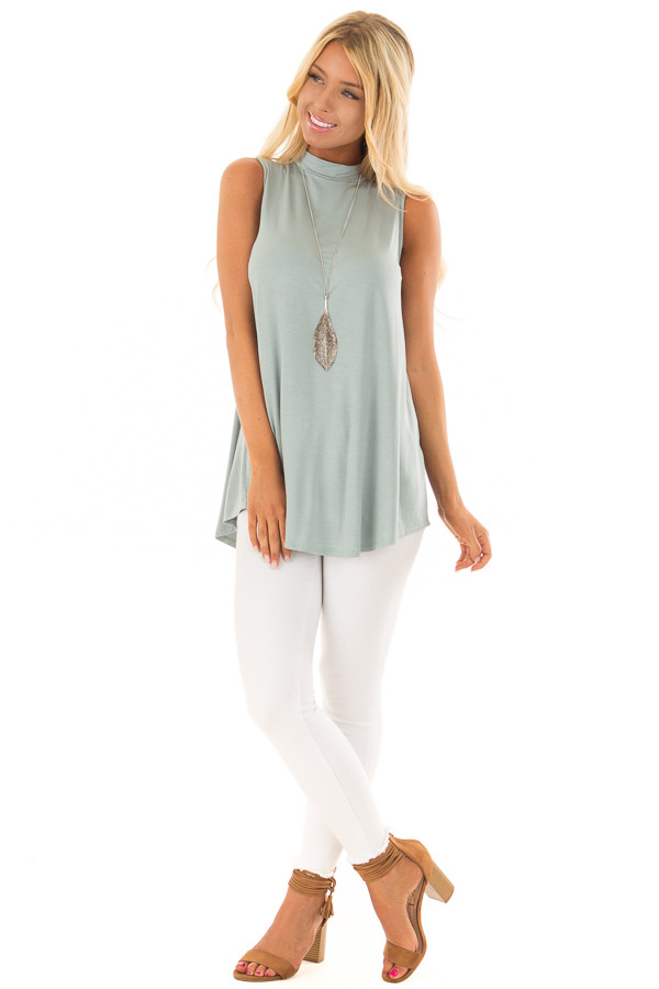 Sea Green Tank Top with Back Keyhole front full body