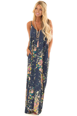 Navy Floral Sleeveless Cocoon Maxi Dress front full body