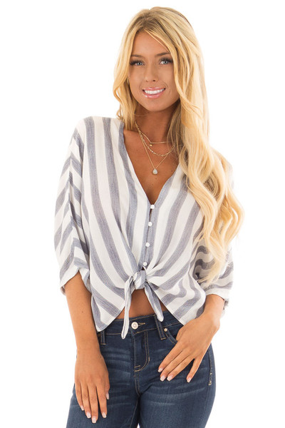 Light Blue and White Striped Button up Top with Tie Detail front close up