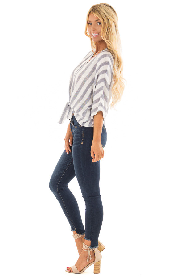 Light Blue and White Striped Button up Top with Tie Detail side full body
