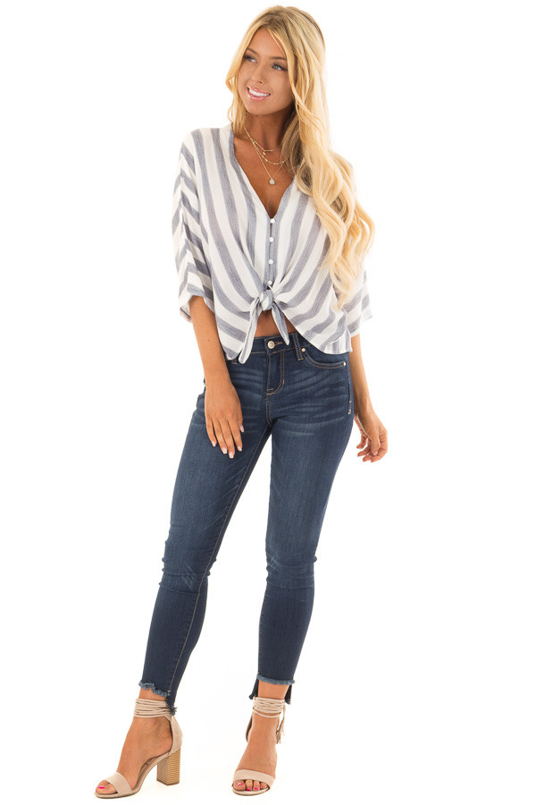 Light Blue and White Striped Button up Top with Tie Detail front full body