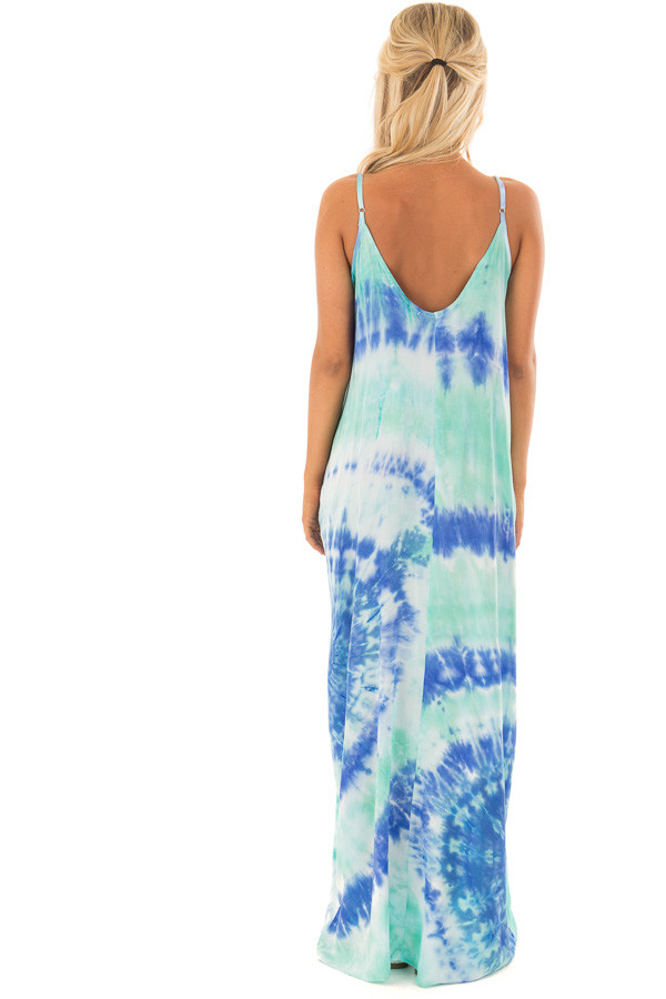 Royal Blue and Aqua Tie Dye Cocoon Maxi Dress back full body