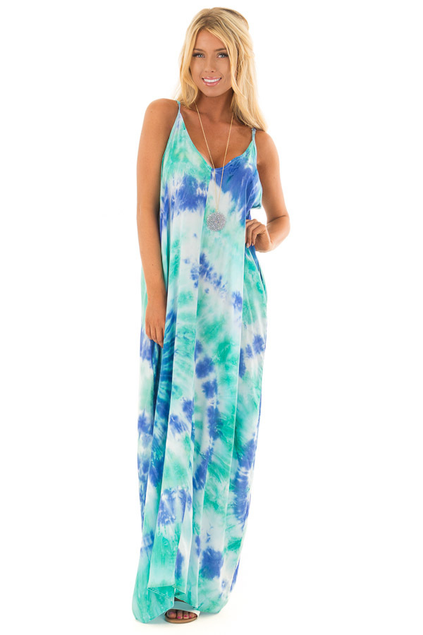 Royal Blue and Aqua Tie Dye Cocoon Maxi Dress front full body