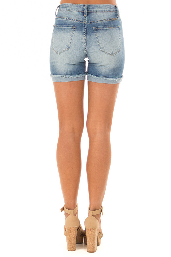 Medium Wash Cuffed Shorts with Minor Distressed Details back view