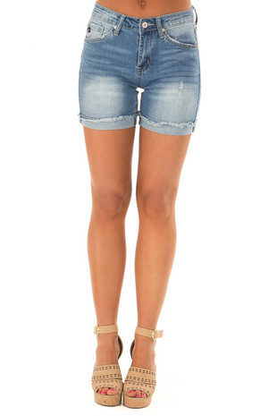 Medium Wash Cuffed Shorts with Minor Distressed Details front view