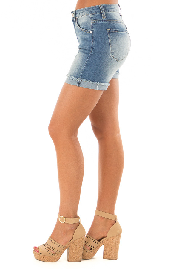 Medium Wash Cuffed Shorts with Minor Distressed Details side view