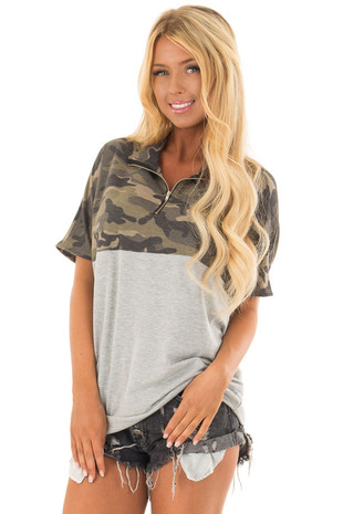Camouflage Short Sleeve Pullover with Heather Grey Contrast front close up
