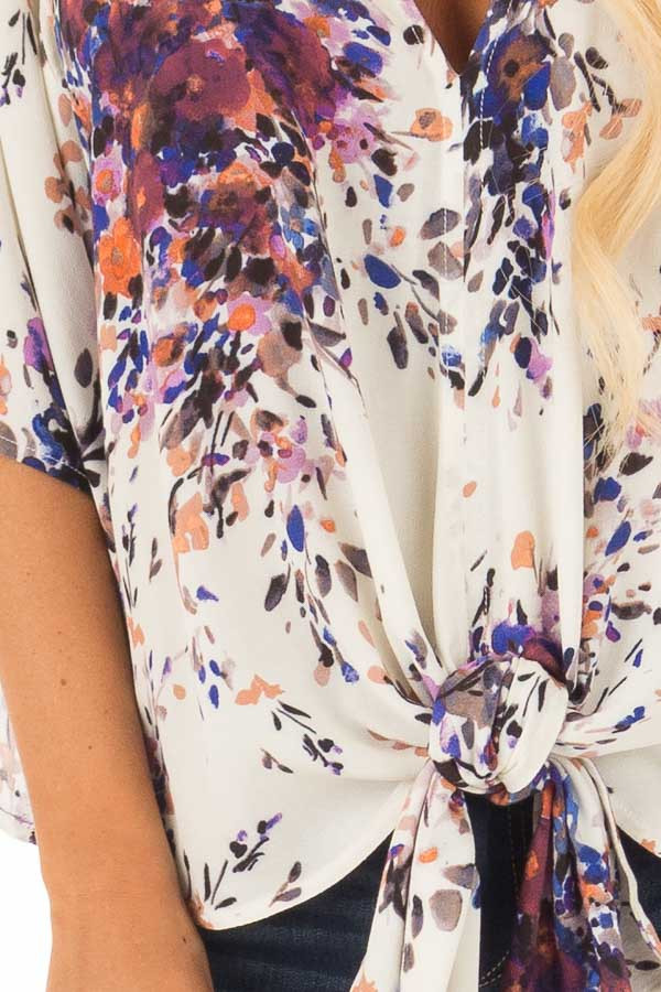 Cream Floral Print Short Sleeve Top with V Neckline detail