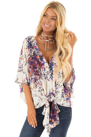 Cream Floral Print Short Sleeve Top with V Neckline front close up