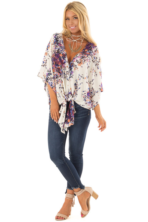 Cream Floral Print Short Sleeve Top with V Neckline front full body