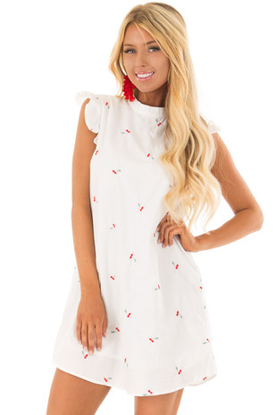 White Ruffle Sleeve Dress with Embroidered Cherry Pattern front close up