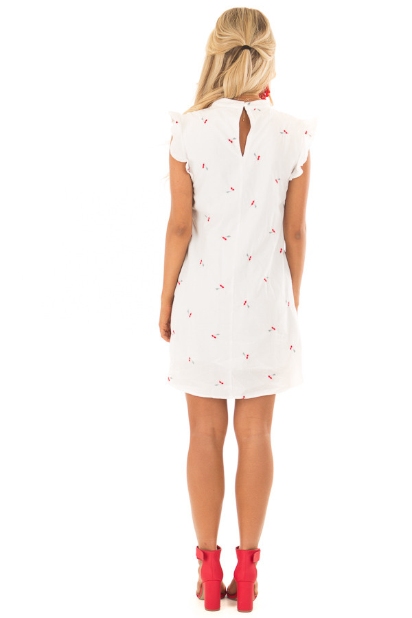 White Ruffle Sleeve Dress with Embroidered Cherry Pattern back full body