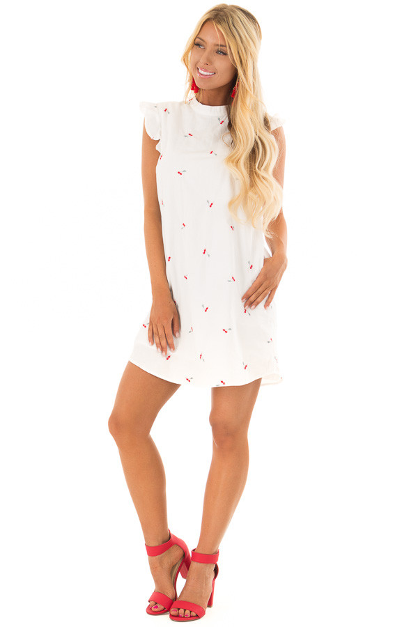 White Ruffle Sleeve Dress with Embroidered Cherry Pattern front full body