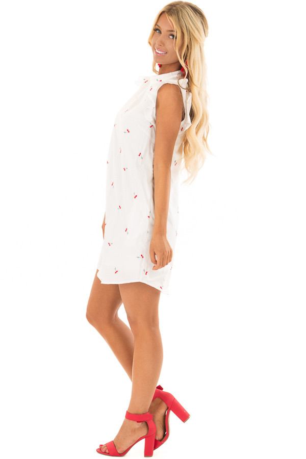 White Ruffle Sleeve Dress with Embroidered Cherry Pattern side full body