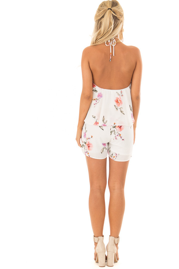 Ivory Floral Print Halter Romper with Ruffle Overlay back full body