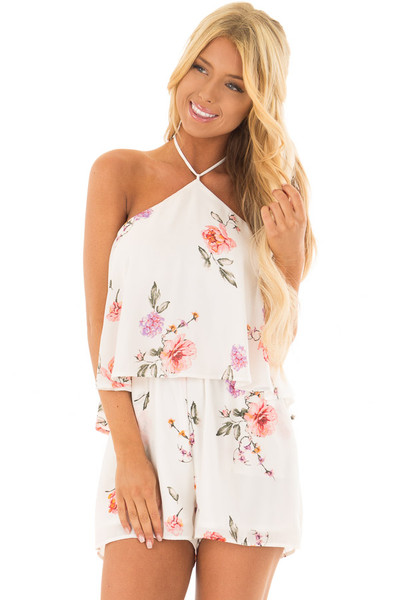 Ivory Floral Print Halter Romper with Ruffle Overlay front close up