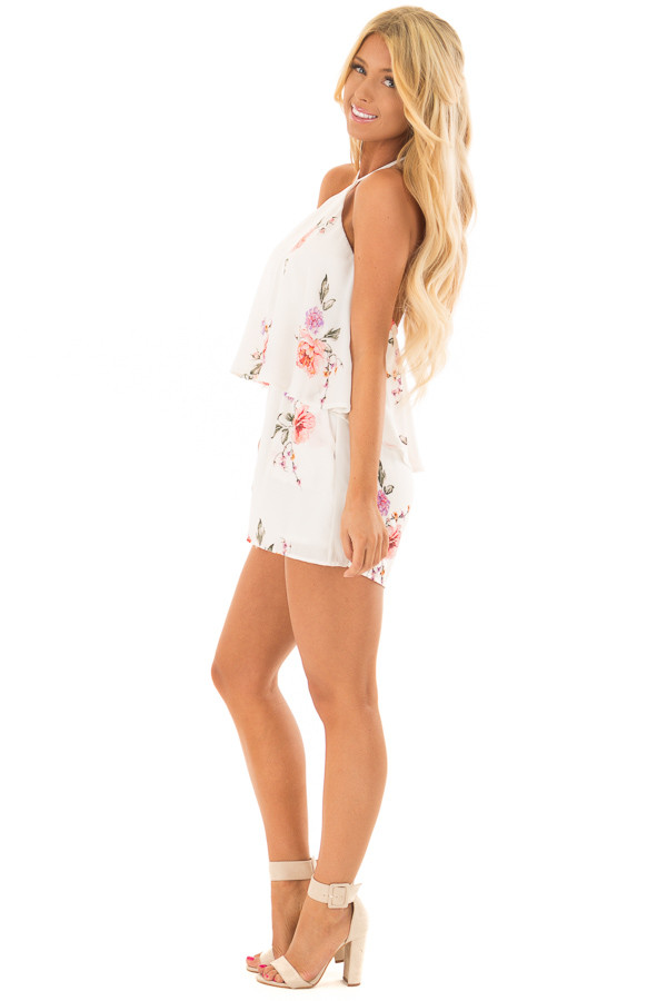 Ivory Floral Print Halter Romper with Ruffle Overlay side full body