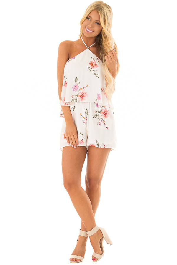 Ivory Floral Print Halter Romper with Ruffle Overlay front full body