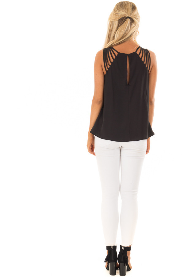 Black Strappy Top with Back Keyhole Detail back full body