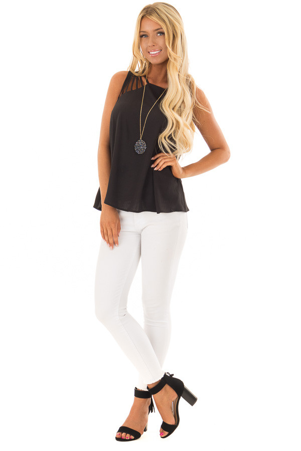 Black Strappy Top with Back Keyhole Detail front full body