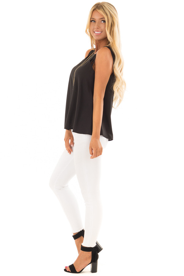 Black Strappy Top with Back Keyhole Detail side full body