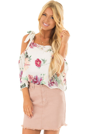 Ivory Floral Print Cold Shoulder Crop Top front close up