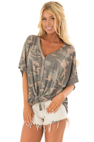 Olive Camo Button Down Jersey Knit Top with Front Tie front close up