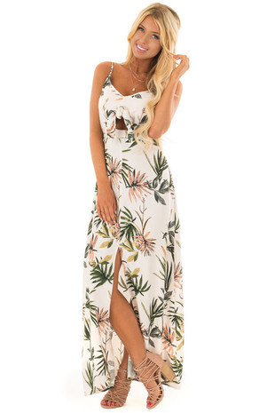Cream Tropical Print Maxi Dress with Cut Out and Front Slit front full body