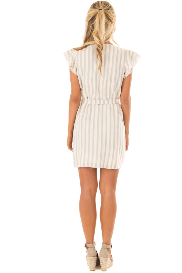 Cream Striped Layered Sleeve Dress with Waist Tie Detail back full body