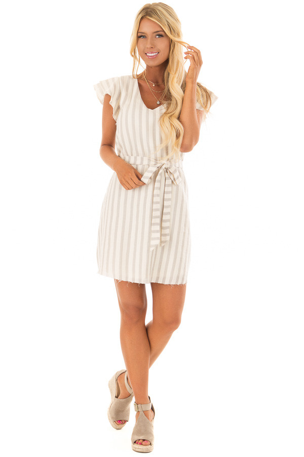 Cream Striped Layered Sleeve Dress with Waist Tie Detail front full body