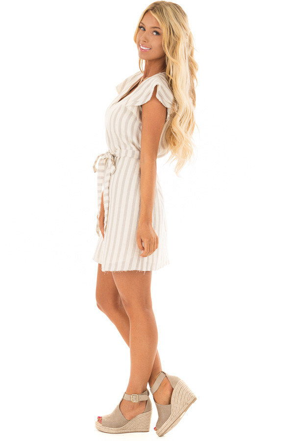 Cream Striped Layered Sleeve Dress with Waist Tie Detail side full body